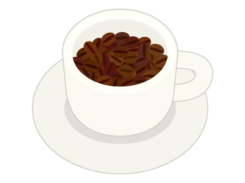 コーヒーカップとコーヒー豆のイラスト