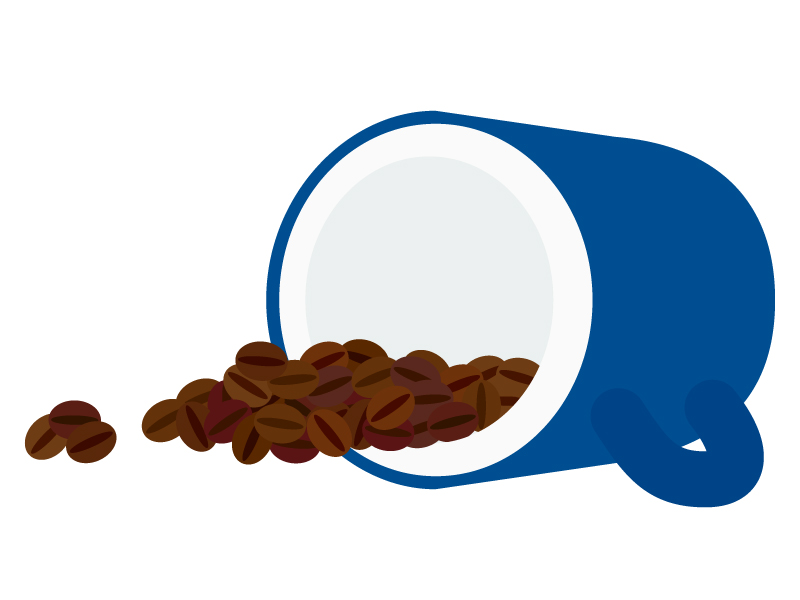 コーヒーカップとコーヒー豆のイラスト02
