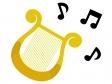音符とハープのイラスト
