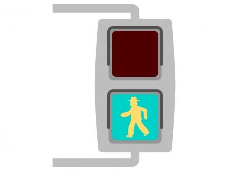 歩行者用の信号機(青)のイラスト