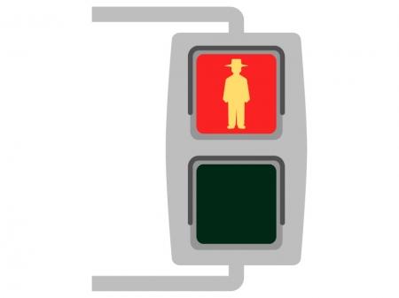 歩行者用の信号機(赤)のイラスト