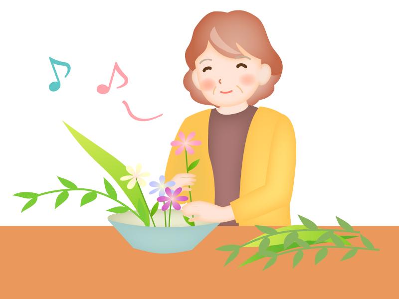 老後の趣味・生け花のイラスト
