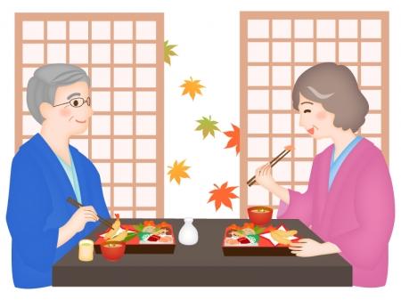 紅葉と旅館で食事する老夫婦のイラスト