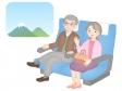 電車で旅をする老夫婦のイラスト