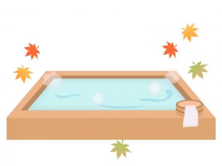 紅葉と温泉のイラスト
