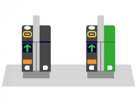 駅の自動改札機のイラスト