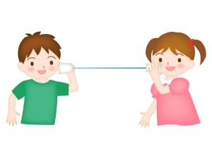糸電話で遊ぶ子どものイラスト