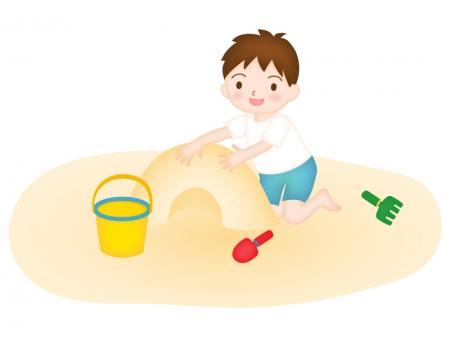 砂遊びをする子どものイラスト