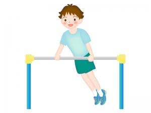 鉄棒で遊ぶ少年のイラスト
