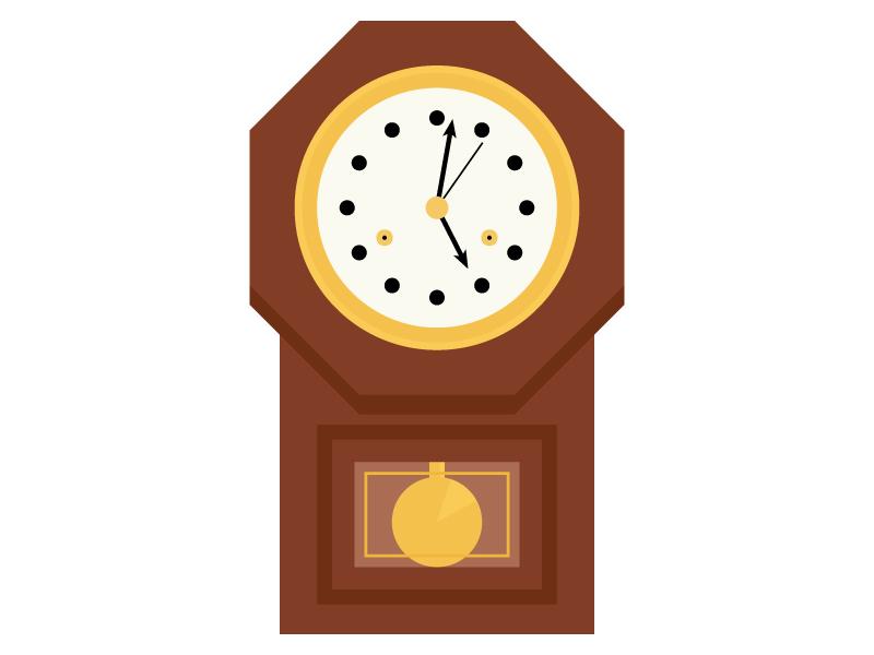 振り子時計のイラスト