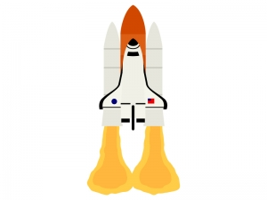 スペースシャトルの打ち上げのイラスト