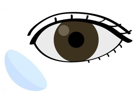 目とコンタクトレンズのイラスト