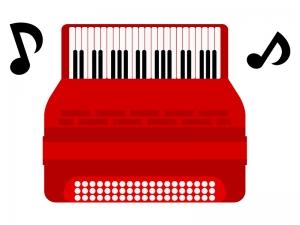 赤いアコーディオンのイラスト