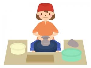 陶芸をしている人のイラスト
