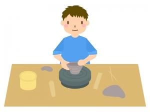 陶芸をしている人のイラスト02