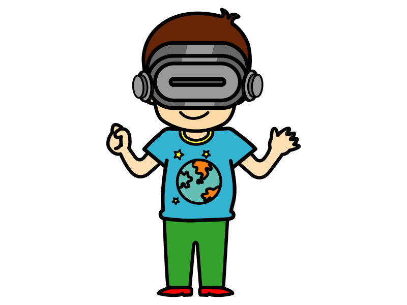 VRを付けてる人のイラスト
