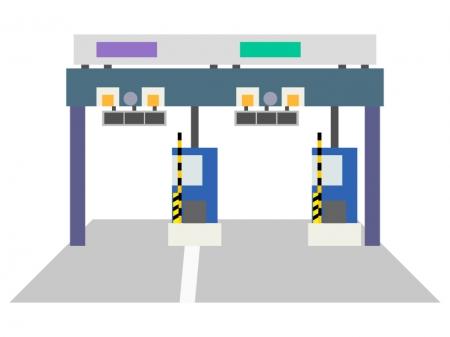 道路の料金所のイラスト