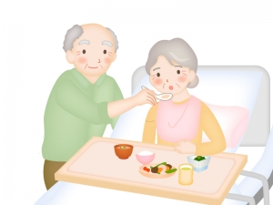 食事の老老介護のイラスト