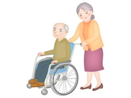 老老介護(車椅子)のイラスト