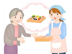 シニア向けのお弁当宅配サービスのイラスト
