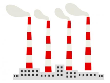 煙が出ている工場のイラスト