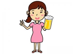 生ビールと女性のイラスト
