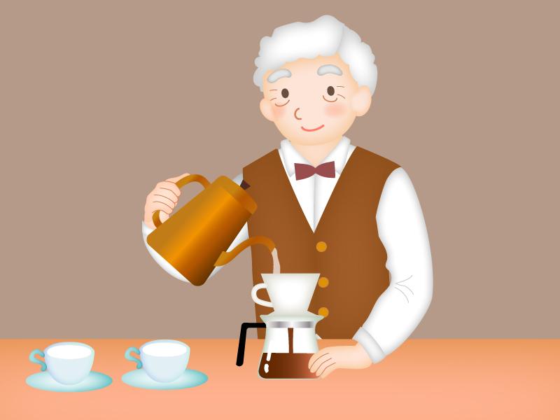 コーヒーを淹れる喫茶店のマスターのイラスト