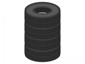 積み上げたタイヤのイラスト