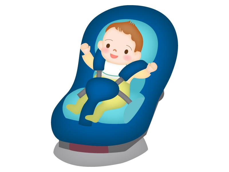 チャイルドシートと赤ちゃんのイラスト02