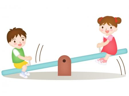 シーソーで遊ぶ子どものイラスト02