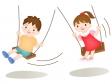 ブランコで遊ぶ子どものイラスト