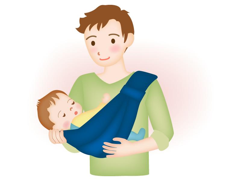 赤ちゃんを抱っこするパパのイラスト