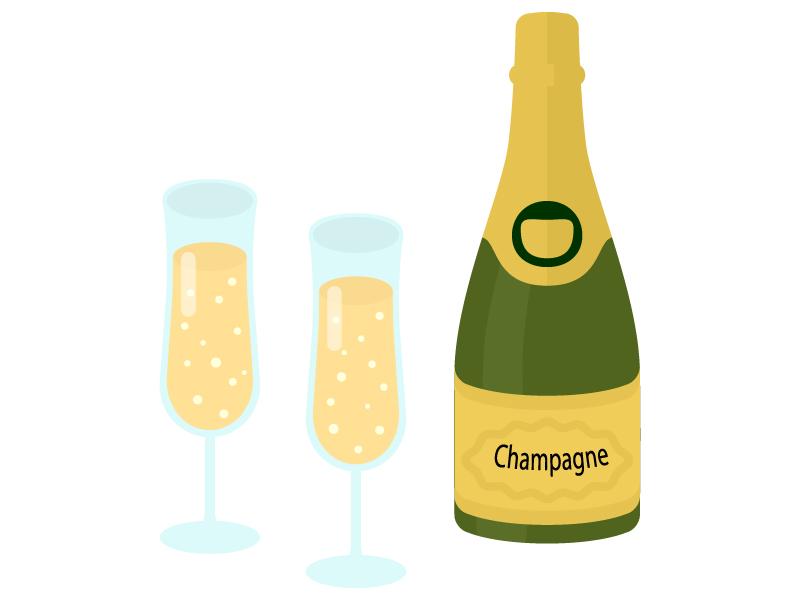 シャンパンのイラスト