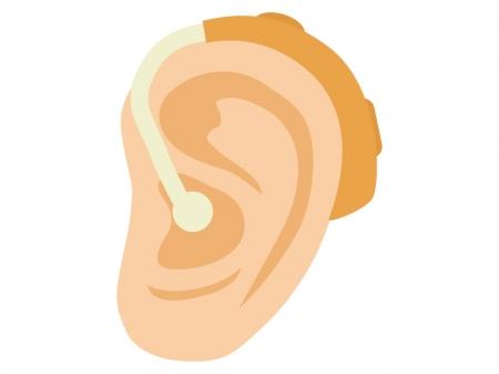 耳と補聴器のイラスト