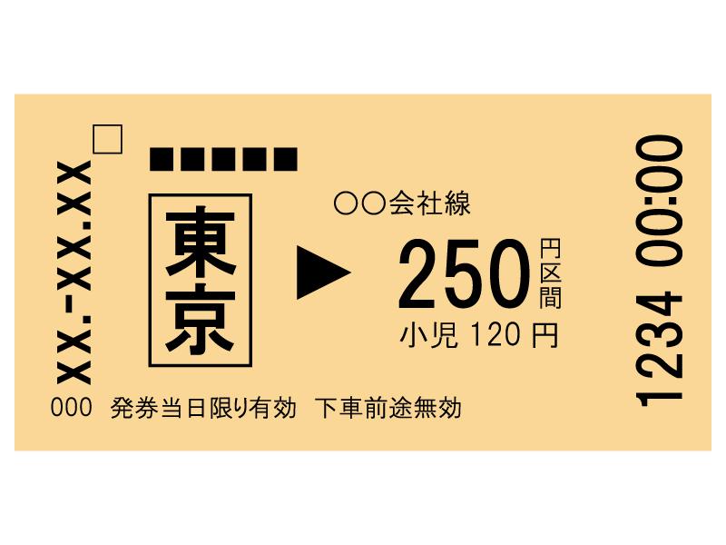 電車の切符のイラスト