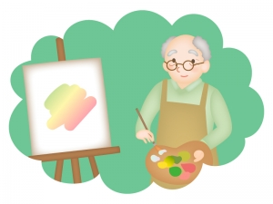 老後の趣味・絵画のイラスト