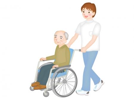 車椅子のお年寄りと介護士さんのイラスト