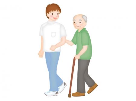 お年寄りと介護士さんのイラスト