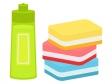 中性洗剤とスポンジのイラスト