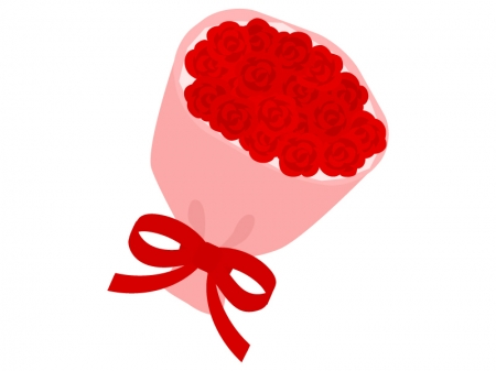 赤いバラの花束のイラスト