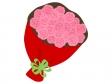 ピンク色のバラの花束のイラスト