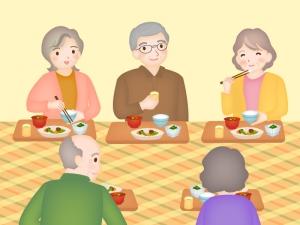 シニアのグループホームで食事のイラスト