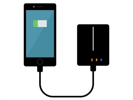 モバイルバッテリーとスマホのイラスト