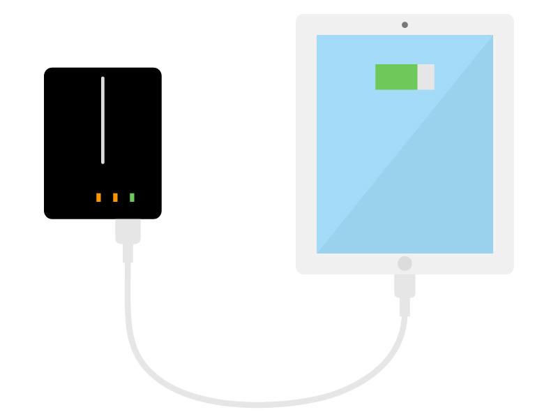 モバイルバッテリーとタブレットのイラスト