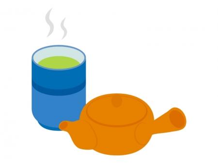 お茶と急須のイラスト