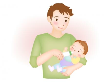 赤ちゃんにミルクをあげるイクメンのイラスト