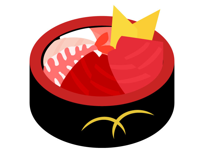 海鮮丼のイラスト
