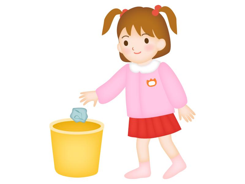 ゴミ箱にゴミを捨てている園児のイラスト