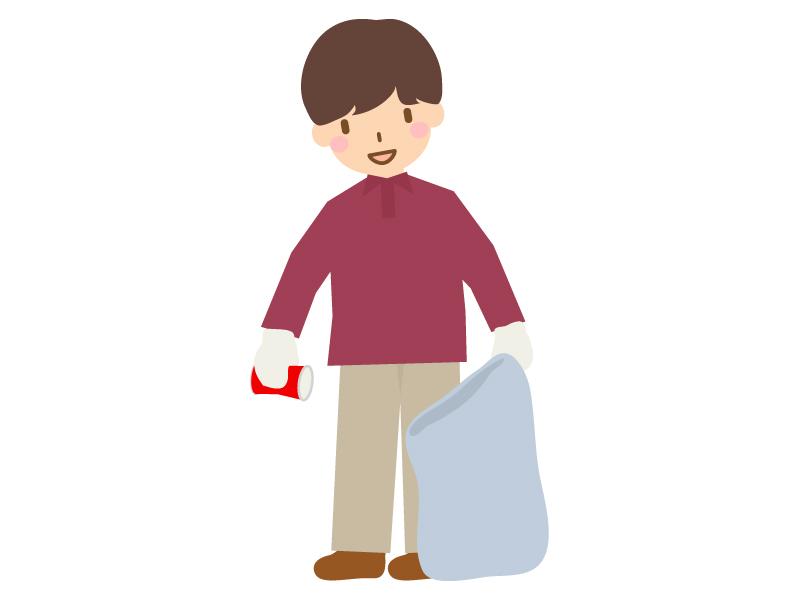 ゴミ拾いする人(男性)のイラスト