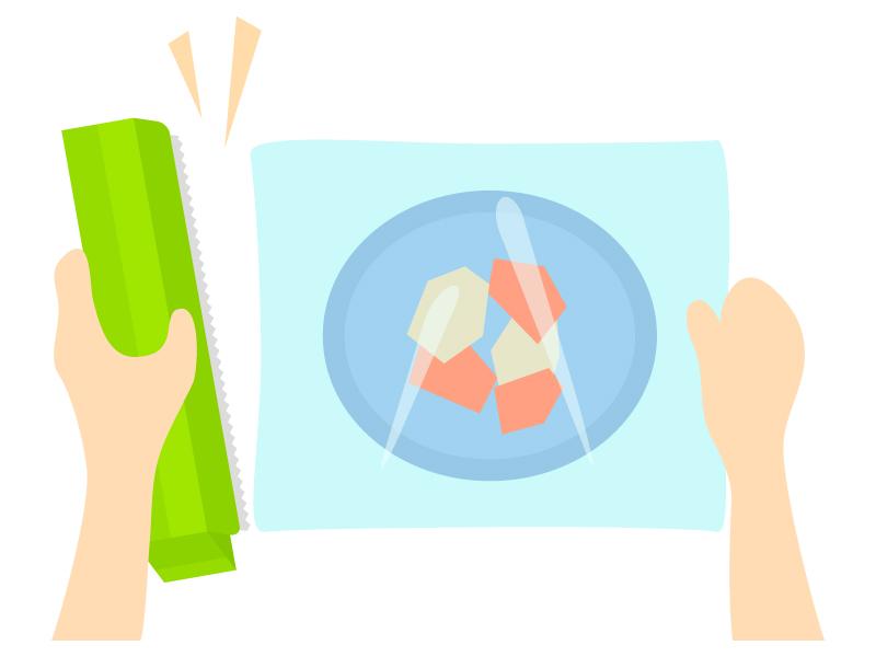食品にラップをかけているイラスト